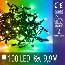 Vianočná LED svetelná reťaz vonkajšia s gumeným káblom - 100LED - 9,9M Multicolour
