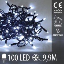 Vianočná LED svetelná reťaz vonkajšia s gumeným káblom - 100LED - 9,9M Studená Biela