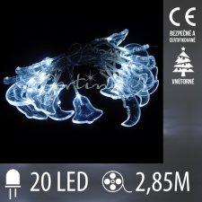 Vianočná LED svetelná reťaz - zvončeky/mesiačiky - 20LED - 2,85M Studená biela