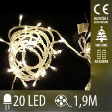 Vianočná LED svetelná reťaz vnútorná - na batérie - 20LED - 1,9M Teplá biela