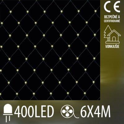 Vianočná LED svetelná sieť vonkajšia - 400LED - 6x4M Teplá biela