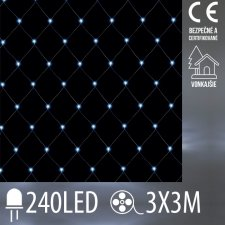 Vianočná LED svetelná sieť vonkajšia - 240LED - 3x3 m Studená biela