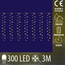 Vianočná LED svetelná mikro záclona CLUSTER vonkajšia s časvoačom - záves + programy - 300LED - 3M Teplá biela