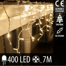 Vianočná LED svetelná záclona na spájanie vnútorná 400LED - 7M Teplá biela
