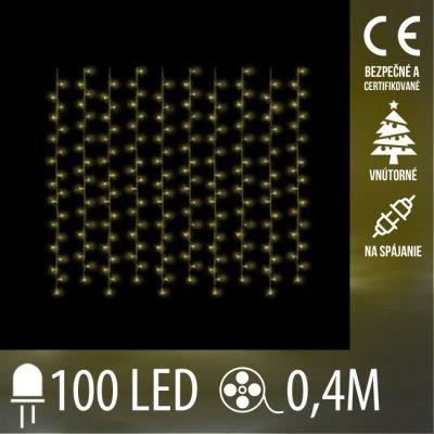 Vianočná LED svetelná záclona na spájanie vnútorná - záves - 100LED - 0,4M Teplá biela