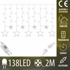 Vianočná LED svetelná záclona na spájanie vonkajšia - hviezdy - programy - časovač - 138LED - 2M Teplá biela