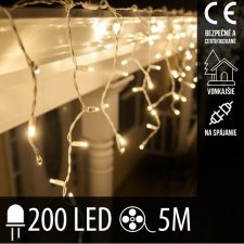 Vianočná LED svetelná záclona na spájanie vonkajšia - 200LED - 5M Teplá biela