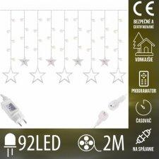 Vianočná LED svetelná záclona na spájanie vonkajšia - hviezdy - programy - časovač - 92LED - 2M Teplá biela
