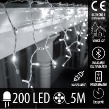 Vianočná LED svetelná záclona na spájanie vonkajšia - programy - časovač + Bluetooth - 200LED - 5M Studená biela
