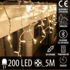 Vianočná LED svetelná záclona na spájanie vonkajšia - programy - časovač + Bluetooth - 200LED - 5M Teplá biela