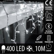 Vianočná LED svetelná záclona na spájanie vonkajšia - programy - časovač + Bluetooth - 400LED - 10M Studená Biela