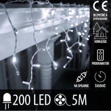 Vianočná LED svetelná záclona na spájanie vonkajšia - programy - časovač + diaľkový ovládač - 200LED - 5M Studená biela