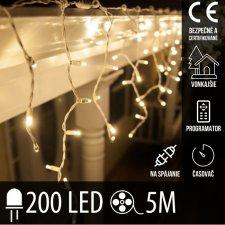 Vianočná LED svetelná záclona na spájanie vonkajšia - programy - časovač + diaľkový ovládač - 200LED - 5M Teplá biela