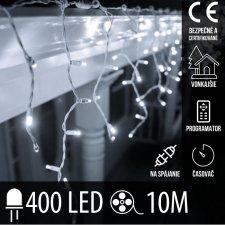 Vianočná LED svetelná záclona na spájanie vonkajšia - programy - časovač + diaľkový ovládač - 400LED - 10M Studená Biela