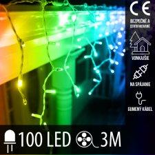 Vianočná LED svetelná záclona na spájanie vonkajšia s gumeným káblom - 100LED - 3M Multicolour