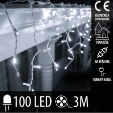 Vianočná LED svetelná záclona na spájanie vonkajšia s gumeným káblom - 100LED - 3M Studená biela