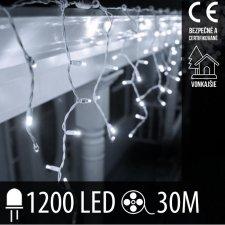 Vianočná LED svetelná záclona vonkajšia - 1200LED - 30M Studená Biela