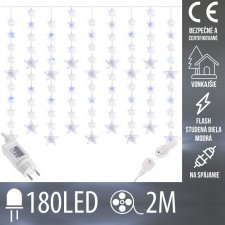 Vianočná LED svetelná záclona na spájanie vonkajšia FLASH - hviezdy - 180LED - 2M Studená biela/Modrá