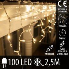 Vianočná LED svetelná záclona vonkajšia FLASH s časovačom - na spájanie - 100LED - 2,5M Teplá biela/Studená biela