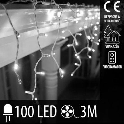 Vianočná LED svetelná záclona vonkajšia + programy - 100LED - 3M Studená biela