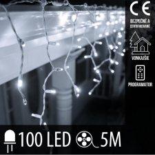 Vianočná LED svetelná záclona vonkajšia + programy - 100LED - 5M Studená biela
