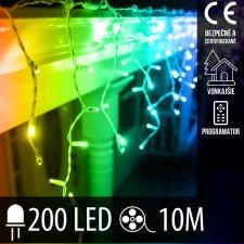 Vianočná LED svetelná záclona vonkajšia + programy - 200LED - 10M Multicolour