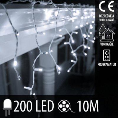 Vianočná LED svetelná záclona vonkajšia + programy - 200LED - 10M Studená biela