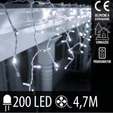 Vianočná LED svetelná záclona vonkajšia + programy - 200LED - 4,7M Studená biela