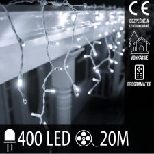 Vianočná LED svetelná záclona vonkajšia + programy - 400LED - 20M Studená biela