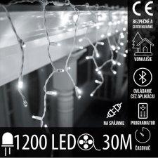 Vianočná LED svetelná záclona vonkajšia - programy - časovač + Bluetooth - 1200LED - 30M Studená Biela