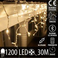 Vianočná LED svetelná záclona vonkajšia - programy - časovač + Bluetooth - 1200LED - 30M Teplá biela