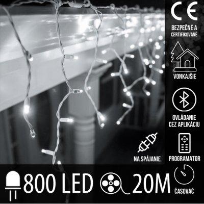 Vianočná LED svetelná záclona vonkajšia - programy - časovač + Bluetooth - 800LED - 20M Studená Biela