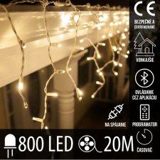 Vianočná LED svetelná záclona vonkajšia - programy - časovač + Bluetooth - 800LED - 20M Teplá biela