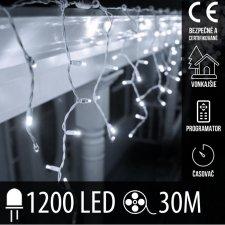 Vianočná LED svetelná záclona vonkajšia - programy - časovač + diaľkový ovládač - 1200LED - 30M Studená Biela