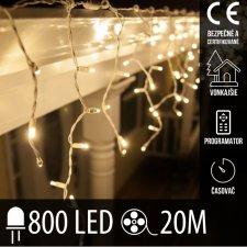 Vianočná LED svetelná záclona vonkajšia - programy - časovač + diaľkový ovládač - 800LED - 20M Teplá biela