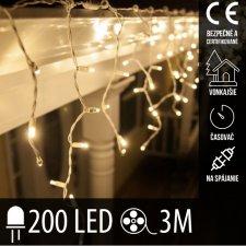 Vianočná LED svetelná záclona vonkajšia s časovačom - 200LED - 3M Teplá biela