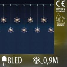 Vianočná LED svetelná záclona vonkajšia - záves - 8 snehových vločiek - 8LED - 0,9M Teplá biela