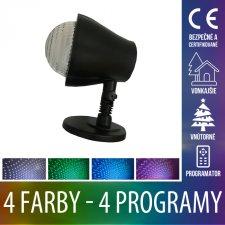 Vianočný LED svetelný projektor vonkajší/vnútorný - 4 farby + 4 programy - Červená - Zelená - Modrá - Studená biela