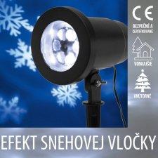 Vianočný LED svetelný projektor vonkajší/vnútorný - efekt snehovej vločky - Studená biela