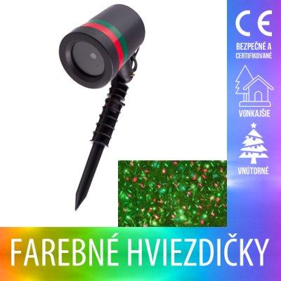 Vianočný LED svetelný projektor vonkajší/vnútorný - farebné hviezdičky - Multicolour