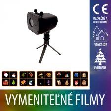Vianočný LED svetelný projektor vonkajší/vnútorný - farebné vymeniteľné filmy - Multicolour