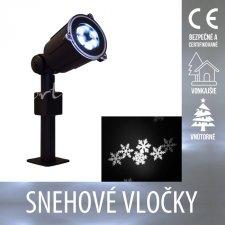 Vianočný LED svetelný projektor vonkajší/vnútorný - Snehové vločky - Studená biela