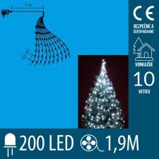 Vianočný LED zväzok svietiacich reťazcov - 10 reťazcov po 20ks LED - 1,9m - Studená biela