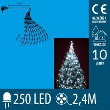Vianočný LED zväzok svietiacich reťazcov - 10 reťazcov po 25ks LED - 2,4m - Studená biela