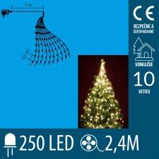 Vianočný LED zväzok svietiacich reťazcov - 10 reťazcov po 25ks LED - 2,4m - Teplá biela