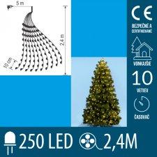 Vianočný LED zväzok svietiacich reťazcov s časovačom - 10 reťazcov po 25ks LED - 2,4m - Teplá biela