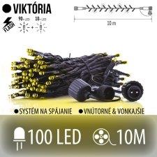 VIKTÓRIA spojovateľná LED svetelná reťaz vonkajšia FLASH - 100LED - 10M Teplá biela/Studená biela