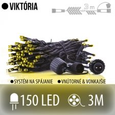 VIKTÓRIA spojovateľná LED svetelná reťaz vonkajšia JEŽKO - 150LED - 3M Teplá biela