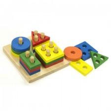 Vzdelávacia drevená hračka - 4 vežičky