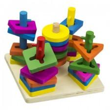 Vzdelávacia drevená hračka - 5 vežičiek
